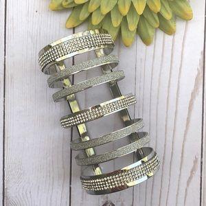 VINTAGE • BOHO • long rhinestone cuff bracelet adj